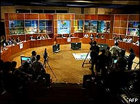 Picture taken during the recording of the first broadcasting of Telesur
