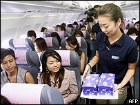 Passengers on a low-cost air flight