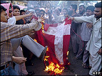 Protestors against cartoons in Karachi burn a Danish flag