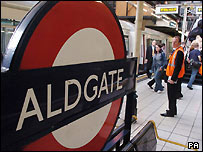 Platform at Aldgate station