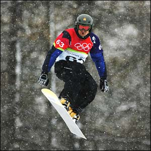 Spain's Jordi Font men's snowboard cross