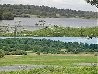 Weir Wood Reservoir in West Sussex photographed by a BBC News website user in July 2004 and July 2005, showing a dramatic drop in water levels