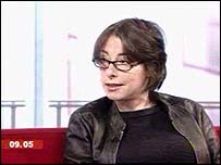 Sue Perkins in the Breakfast studio