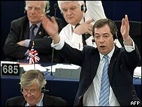 British MEP Nigel Farage gesticulates