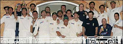 Australia celebrate victory on the Lord's balcony