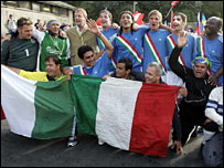 The Italian team celebrate their victory