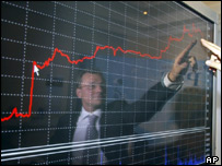 Chart showing upward growth at Russian Stock Exchange