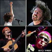 Clockwise from top left, Razorlight, Foo Fighters, Oasis, The Coral - photos: Getty/PA