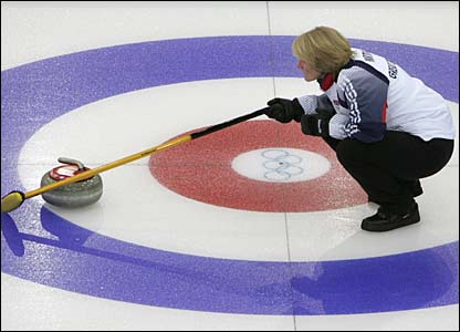 GB curling skip Rhona Martin in action on day six