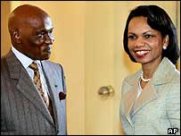 President Abdoulaye Wade and US Secretary of State Condoleezza Rice
