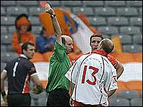 Peter Canavan is shown the red card