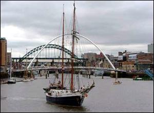 Tall ship on the Tyne