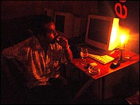 Internet cafe during a black out