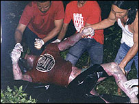 One of the bodies being pulled from the lake