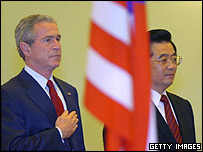 US President George W Bush (left) and Chinese President Hu Jintao