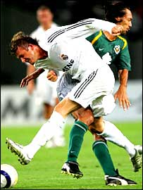 David Beckham and Kazuyuki Toda clash