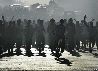 Rene Preval supporters in Port-au-Prince, Haiti
