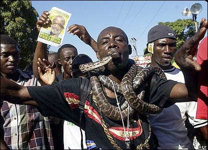 Rene Preval supporters in Port-au-Prince, Haiti