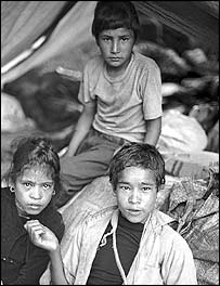 Homeless children forced from their homes by conflict, living in tents in Surkhet