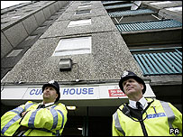 Police outside Curtis House