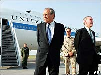 Rumsfeld in Bishkek with US ambassador Stephen Young