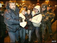 Police arrest protesters in the Belarus capital, Minsk