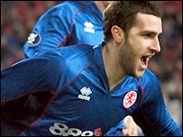 Parnaby scored just after half-time in Boro's Uefa Cup tie