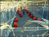 File picture of detainees at Guantanamo Bay