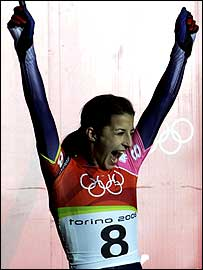Shelley Rudman celebrates her silver medal in Turin