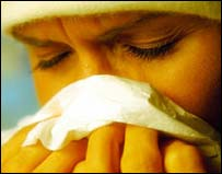 Image of a woman with flu