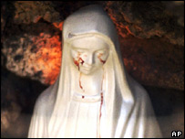 A statue of the Madonna reported to cry tears of blood in Civitavecchia, Italy (file)