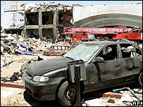 View of the damage caused by a bomb in Sharm al-Sheikh, Egypt