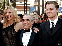Cameron Diaz, Martin Scorsese and Leonardo DiCaprio at 2002 Cannes Film Festival