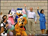 Walt Disney Parks and Resorts President Jay Rasulo (left) at a publicity event in Hong Kong, July 2005