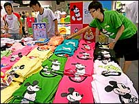 Mickey Mouse T-shirts on sale in Hong Kong, July 2005