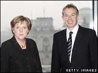 German Chancellor Angela Merkel and UK Prime Minister Tony Blair in Berlin