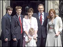 Tony Blair with his family