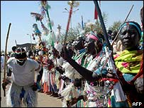 Southern Sudanese celebrating the end of the war