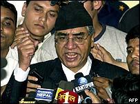 Sher Bahadur Deuba speaking after being sentenced