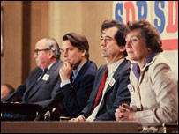 Roy Jenkins, David Owen, Bill Rodgers and Shirley Williams at the SDP's launch on 26 March 1981
