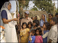 Girija Devi with village residents