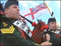 Pipers on board HMS Edinburgh