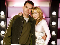 Madonna and presenter Tim Westwood inside the van