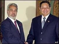 East Timor's Xanana Gusmao and Indonesia's Susilo Bambang Yudhoyono - 17/2/06