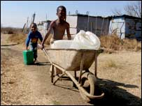 Children carry water