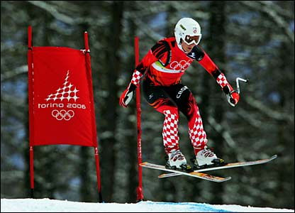 Nika Fleiss races before the women's combined downhill event is postponed