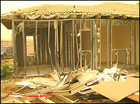 A house blown apart by a Qassam rocket