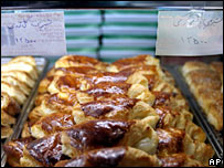 Relabelled Danish pastries in a Tehran bakery