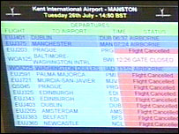 Screen showing cancelled flights