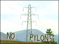 The new pylons will carry power from new wind and water schemes